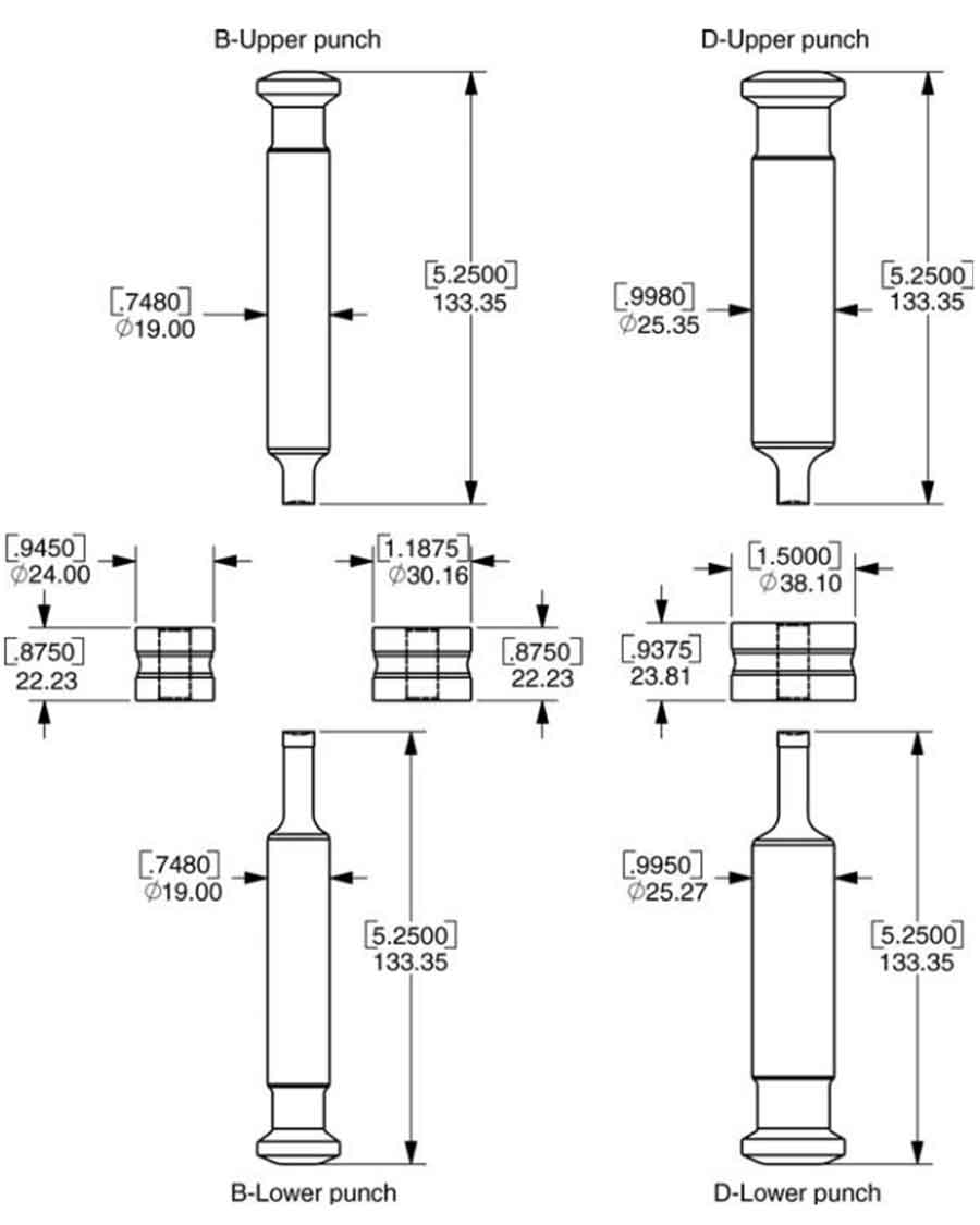 Tablet press: A drawing showing the differences between the B and D tool configurations