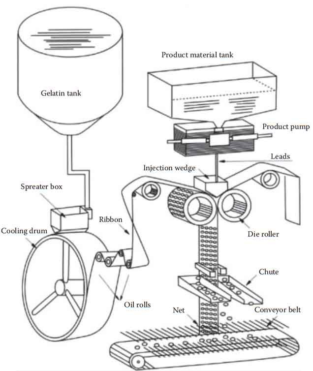 Maufacture of Soft gelatin Capsules: Schematic drawing of a rotary-die soft gelatin capsule filler